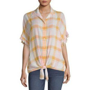 ANA Pastel Plaid Tie Front Ruffle Button Up Top XL